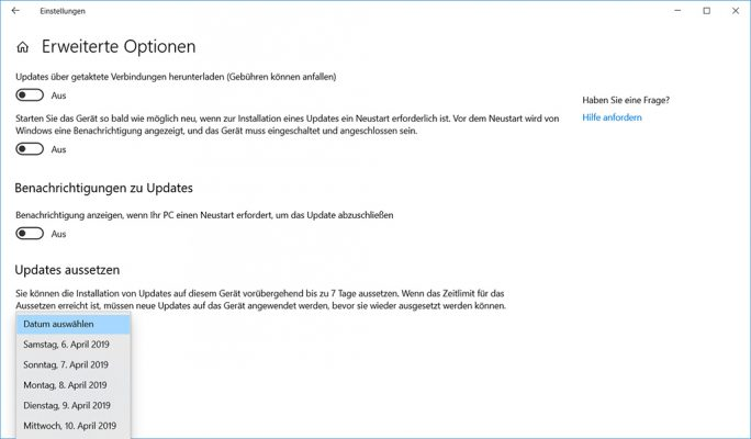 Windows 10 19H1: Update verzögern (Screenshot: ZDNet.de)