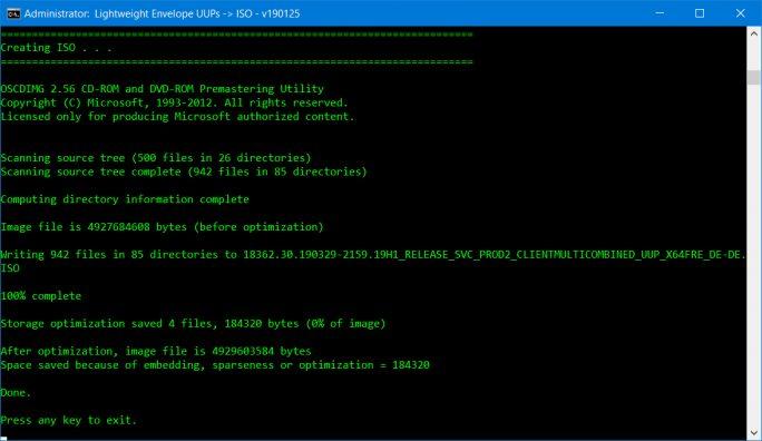 Windows 10 19H1: ISO wurde erstellt (Screenshot: ZDNet.de)