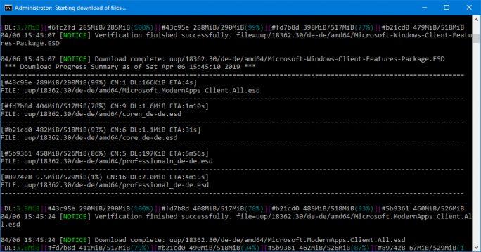 Windows 10 19H1: Skript lädt Daten herunter (Sxcreenshot: ZDNet.de)