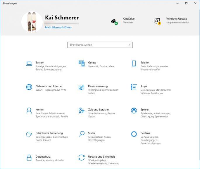 Windows 19H1: Einstellungen (neu) (Bild: ZDNet.de)