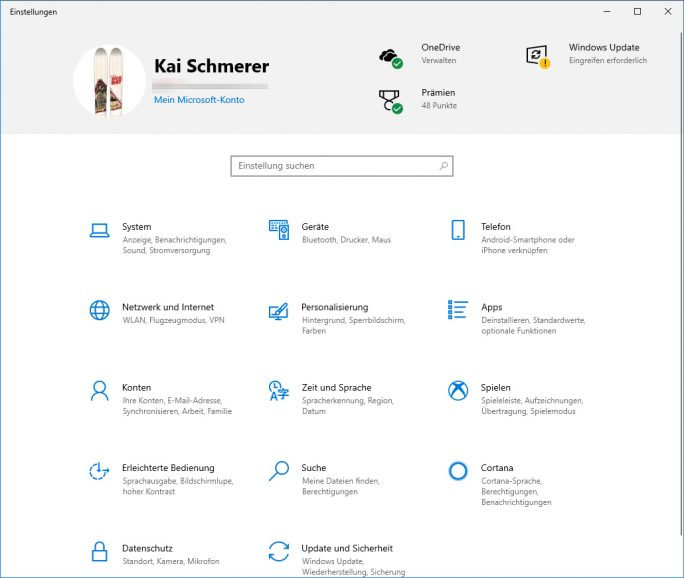 Windows 19H1: Einstellungen mit Prämien (neu) (Bild: ZDNet.de)