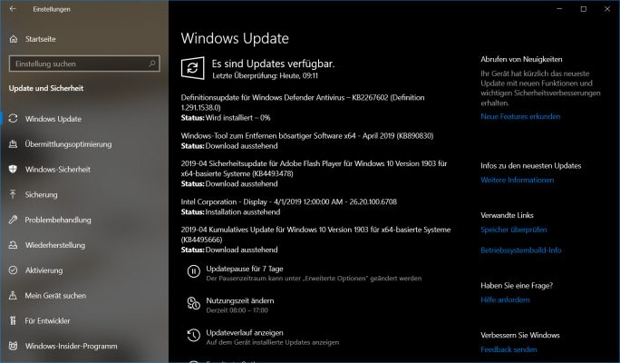 Windows-April-Update (Screenshot: ZDNet.de)