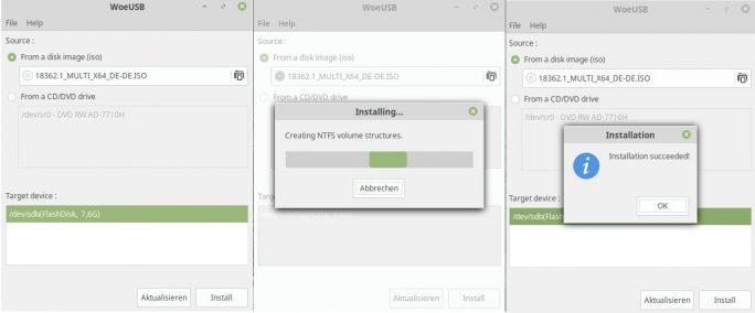 WoeUSB: Windows-USB-Stick unter Linux erstellen (Bild: ZDNet.de)