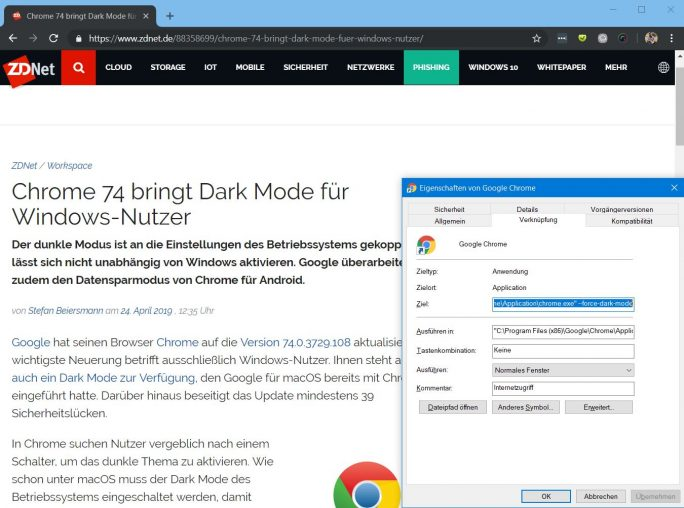 Chrome 74: Dark Mode unter Windows 10 (Screenshot: ZDNet.de)