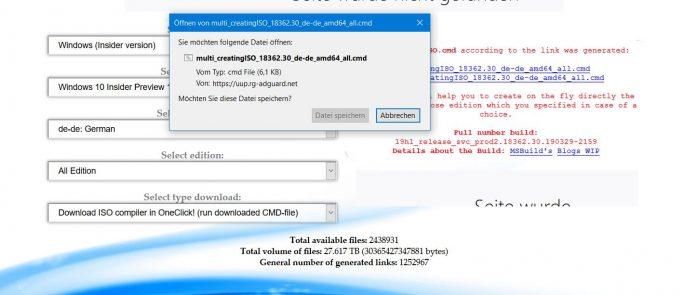 Mit dem Skript werden Daten von den Microsoft-Servern heruntergeladen und eine ISO von Windows 10 19H1 erstellt (Bild: ZDNet.de)