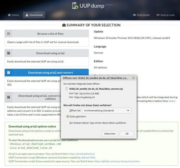 Windows 19H1: ISO unter Linux erstellen (Screeenshot: ZDNet.de)