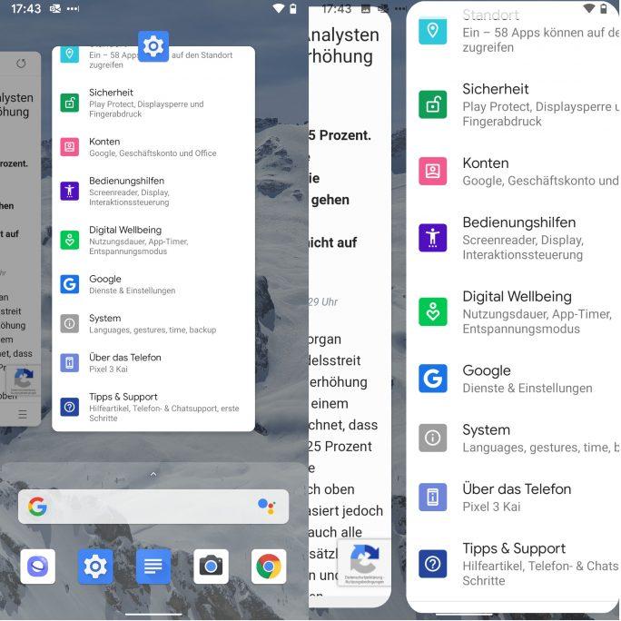 Android-Q-Vollbildgesten: Wechsel zwischen Anwendungen (Screenshot: ZDNet.de)