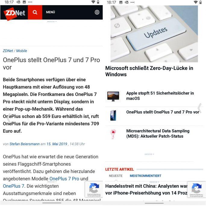 Android-Q-Vollbildgesten: Für Zurück einfach von den Bildschirmseite nach innen wischen (Screnshot: ZDNet.de)