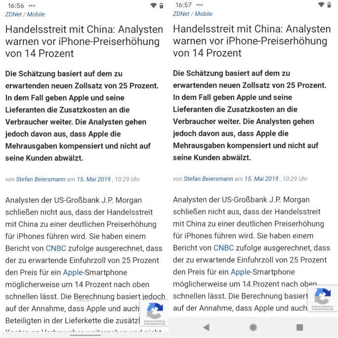 Android Q: Vollbildgesten bieten mehr Raum für Inhalte (Screenshot: ZDNet.de)