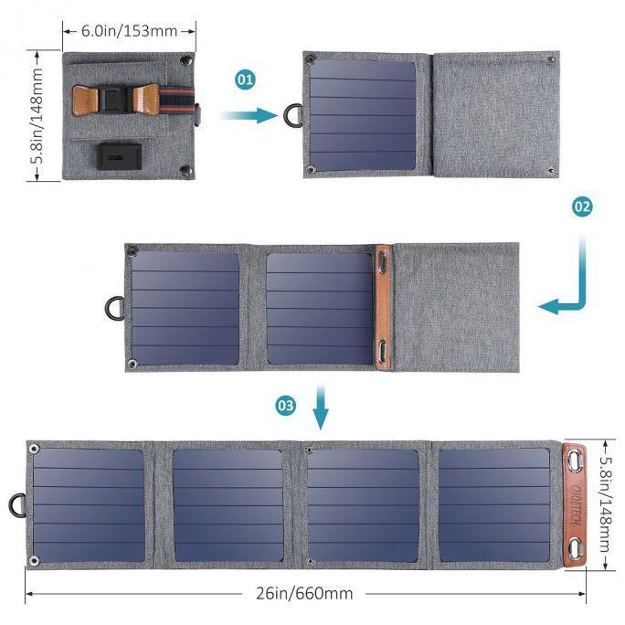 Choetech Solar-Ladegerät mit bis zu 14 Watt (Bild: Choetech)