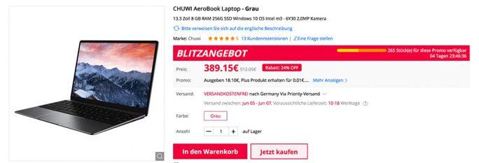 Chuwi Aerobook für 389 Euro (Screenshot: ZDNet.de)