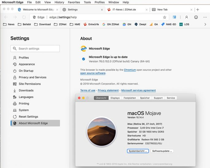 Edge für macOS (Screenshot: ZDNet.de)