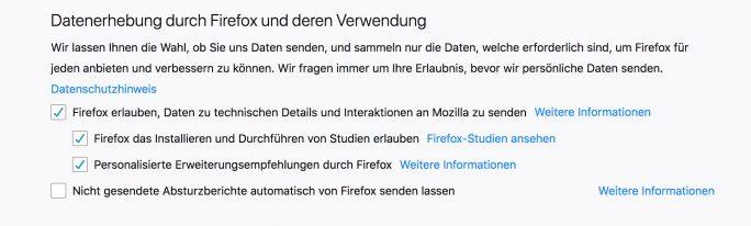 Firefox-Einstellung: Durchführung von Studien muss für die Aktivierung des Patches aktiv sein (Bild: ZDNet.de)