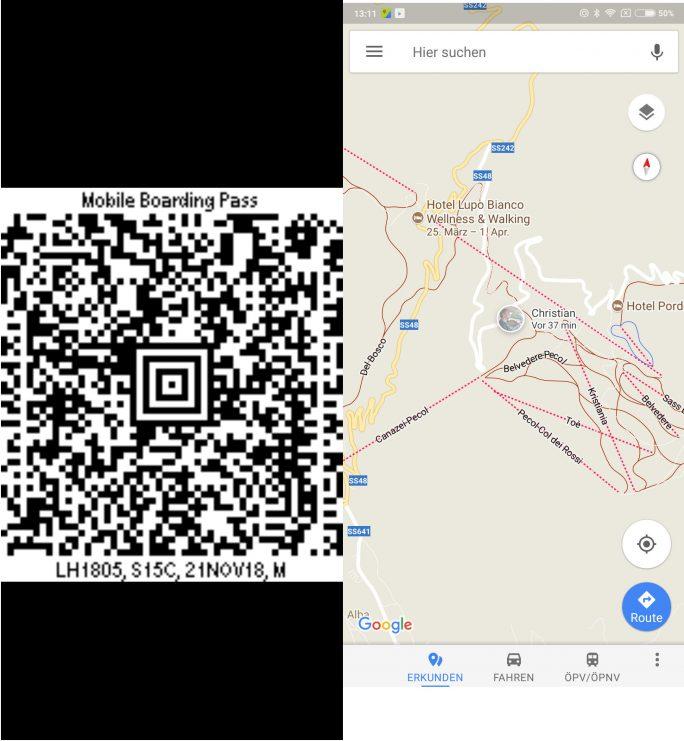 Gmail: Boardingpass, Hotelbuchung (Screenshot: ZDNet.de)