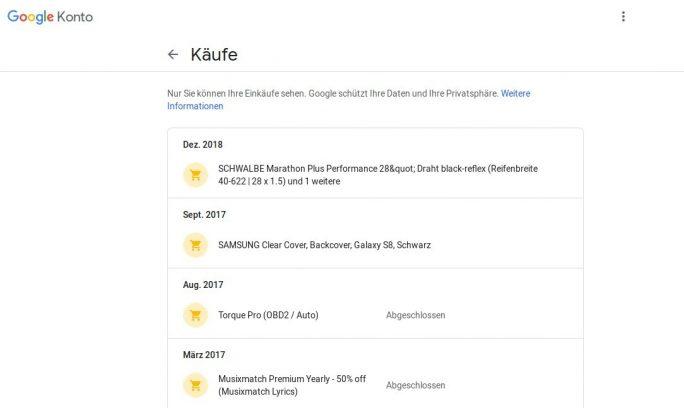 Google-Konto: Einkäufe (Screenshot: ZDNet.de)