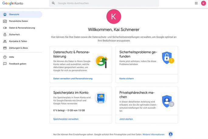 Google-Konto: Die Datenschutzeinstellungen sind