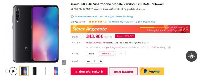 Mi 9 bei Gearbest  für 343,90 Euro (Screenshot: ZDNet.de)