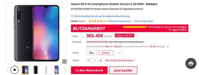 Mi 9 mit 64 GByte bei Gearbest für 365,40 Euro (Screenshot: ZDNet.de)