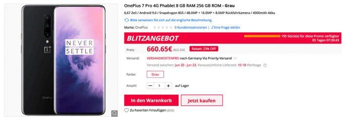 OnePlus 7 Pro mit 256 GByte Speicher und 8 GByte RAM für 660,65 Euro (Screenshot: ZDNet.de)