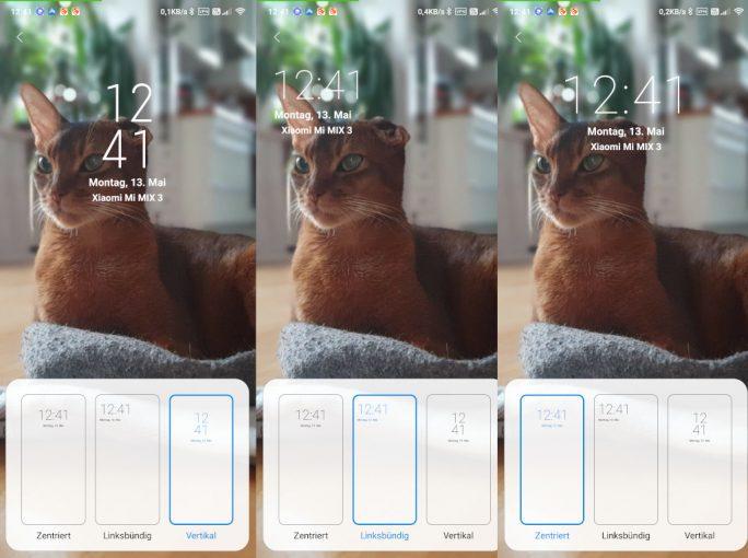 MIUI 10.4 9.5: Neue Uhren-Layouts für Sperrbildschirm (Screenshot: ZDNet.de)