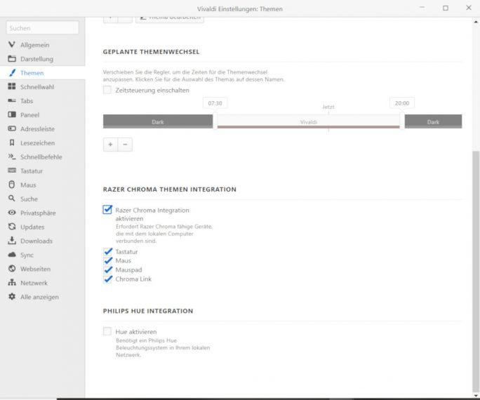 Vivaldi-Einstellungen: Chroma aktivieren (Screenshot: ZDNet.de)