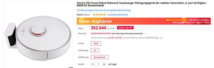 Xiaomi S50 Saugroboter für 352 Euro (Screenshot: ZDNet.de)