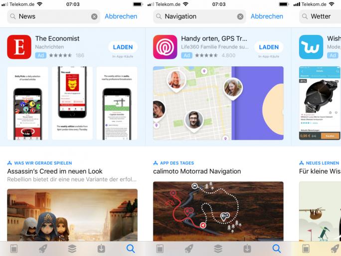 Suchwerbung im App Store (Screenshot: ZDNet.de)