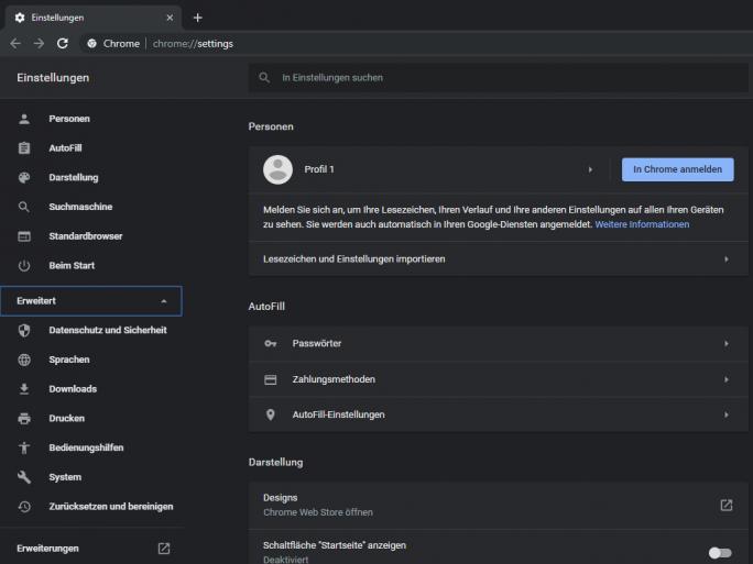 Chrome (Screenshot: ZDNet.de)