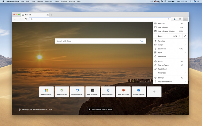 Edge für macOS (Bild: Microsoft)