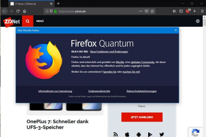 Firefox 66.0.4 behebt das Problem deaktiverter Add-Ons (Screenshot: ZDNet.de)