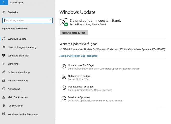 Neue Ansicht und Steuerungsmöglichkeiten für Windows-Updates in Windows 10 Version 1903 (Screenshot. Thomas Joos).