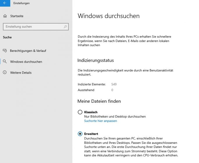 Konfigurieren der Suchoptionen in Windows (Screenshot: Thomas Joos).