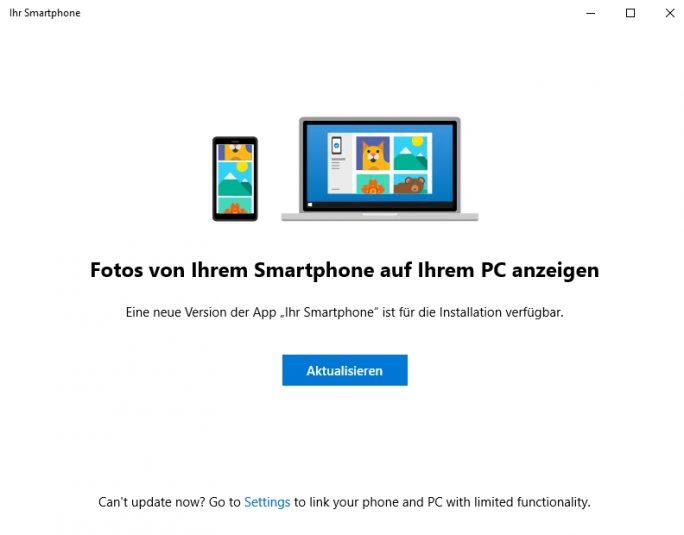 Smartphones arbeiten enger mit Windows 10 zusammen (Screenshot: Thomas Joos).