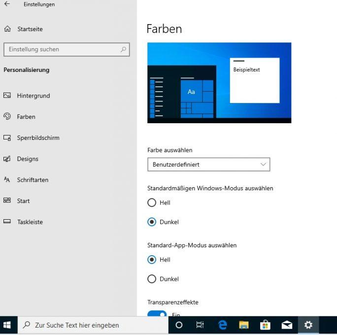 Windows 10 Version 1903 bietet verbesserte Möglichkeiten für die Personalisierung und die Aktivierung des dunklen Modus (Screenshot: Thomas Joos).