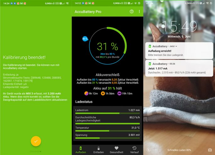 Android: AccuBattery Pro überwacht Ladevorgang (Bild: ZDNet.de)