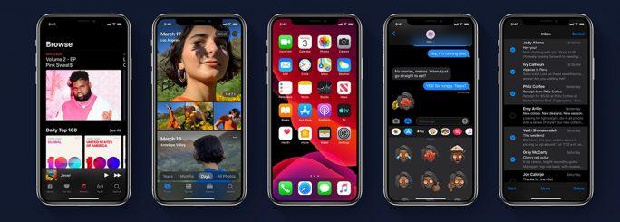Apple iOS 13 mit Dark Mode (Screenshot: ZDNet.de)