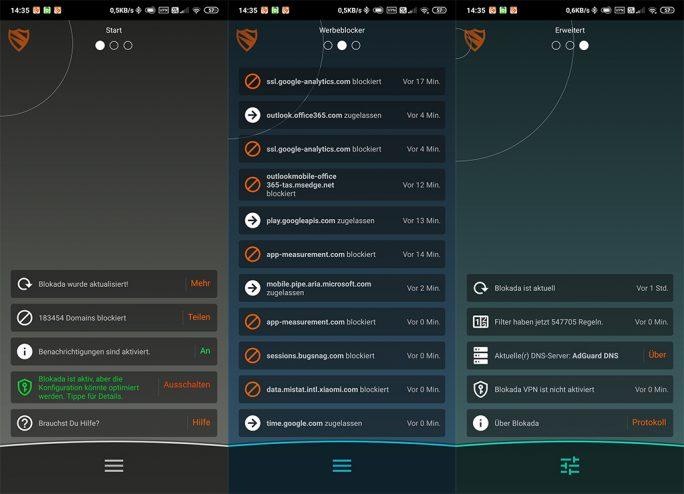 Blokada v4: Startscreens (Screenshot: ZDNet.de)