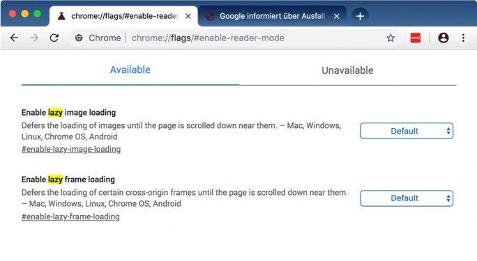 Chrome 75: Lazy-Mode (Screenshot: ZDNet.de)