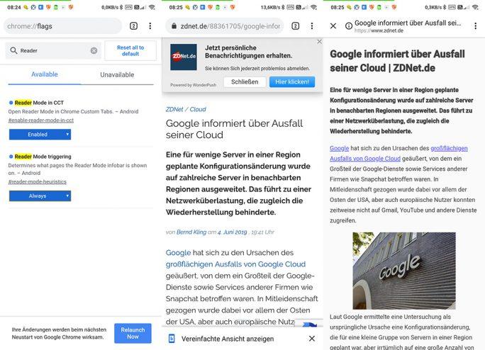 Chrome: Lesemodus unter Android (Screenshot: ZDNet.de)