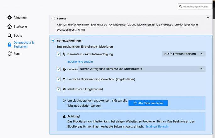 Firefox 67.0.1: Trackingschutz aktivieren (Screenshot: ZDNet.de)