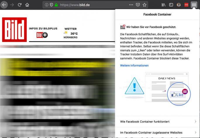 Firefox 67: Facebook-Container (Screenshot: ZDNet.de)
