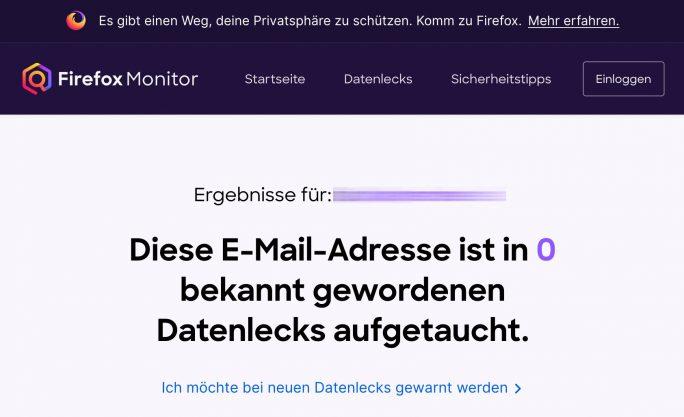 Firefox Monitor (Screenshot: ZDNet.de)