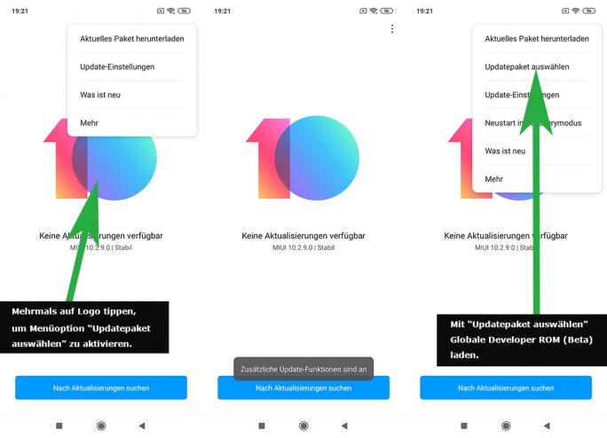 MIUI: Option im Update-Menü durch mehrmaliges Tippen auf das MIUI-Versions-Logo aktivieren (Bild: ZDNet.de)