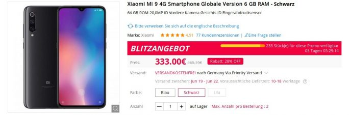 Mi 9 für 333 Euro (Screenshot: ZDNet.de)