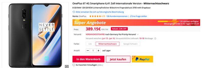 OnePlus 6T für 389 Euro (Screenshot: ZDNet.de)