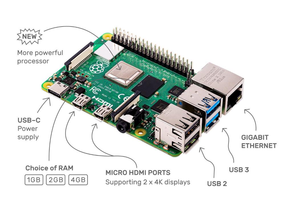 Raspberry Pi 4 kommt mit bis zu 4 GByte Arbeitsspeicher