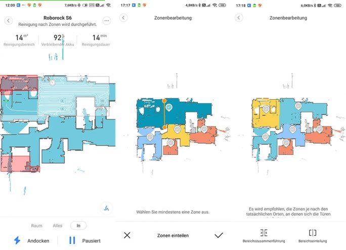 Roborock S6: Zonenreinigung, Raumaufteilung, Sperrzonen (Screenshot: ZDNet.de)