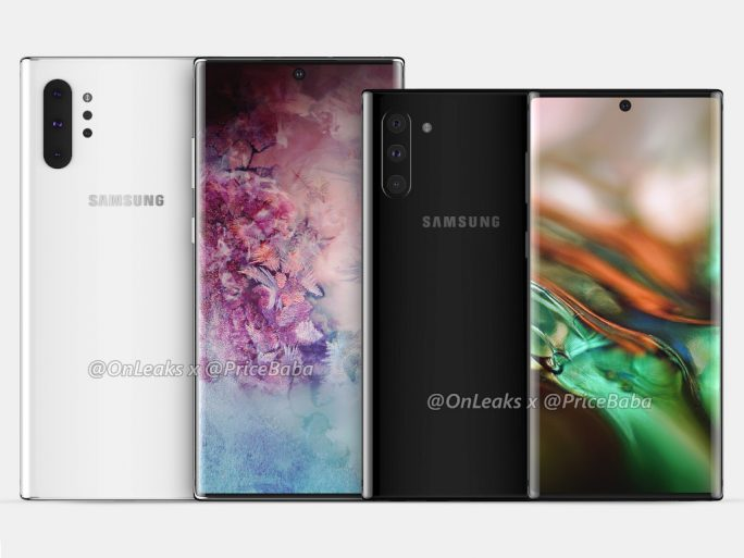 Samsung Galaxy Note 10 vs. Note 10 Pro (Quelle: Onleaks, Pricebaba)