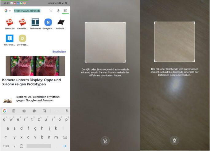 Samsung Internet 9.4 integriert einen QR-Code-Scanner (Screenshot: ZDNet.de).