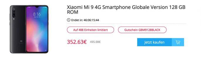 Xiaomi Mi 9 für 352 Euro (Screenshot: ZDNet.de)
